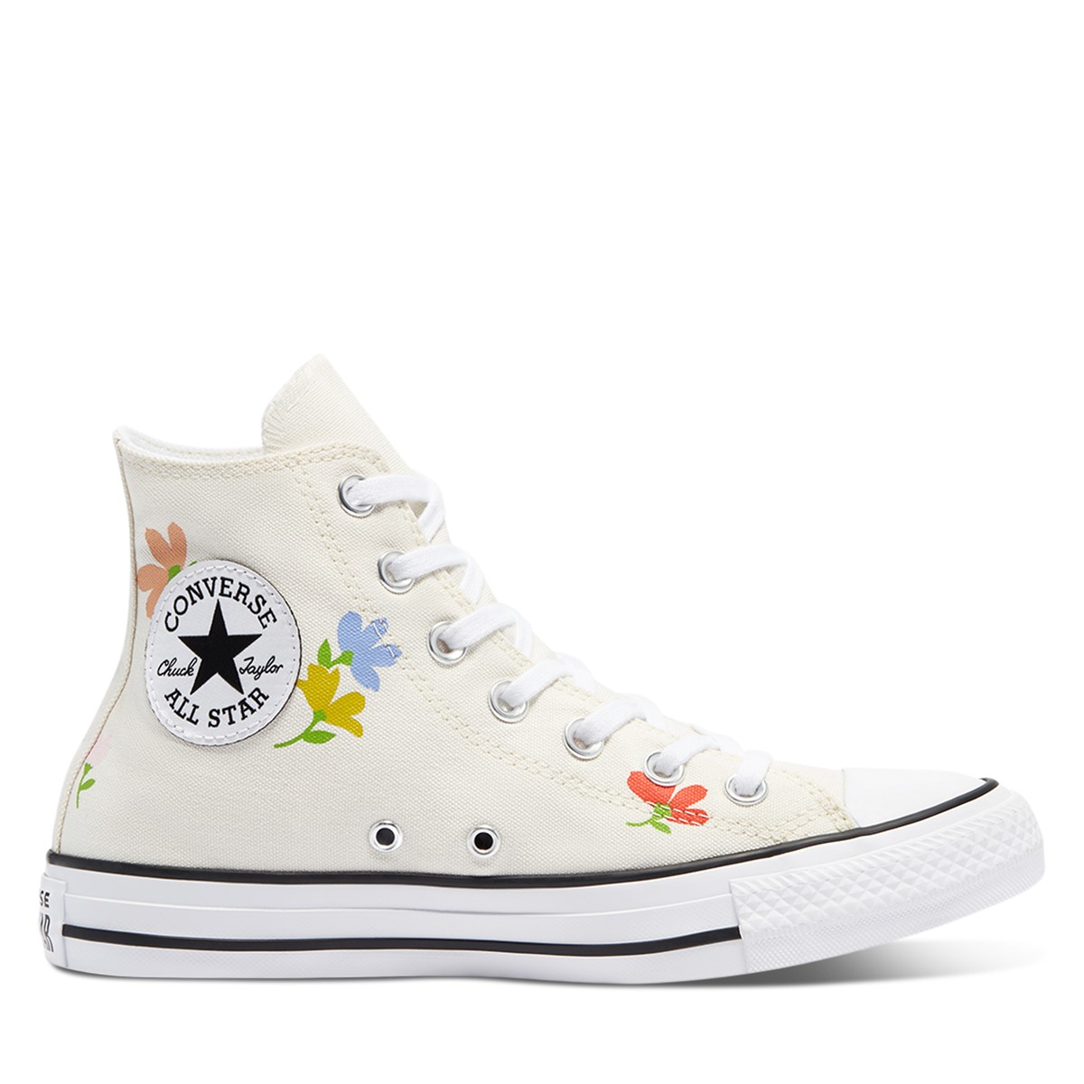 Women's Floral Print Chuck Taylor All Star Hi Sneakers in Cream
