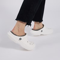 Classic Lined Clogs in White/Grey