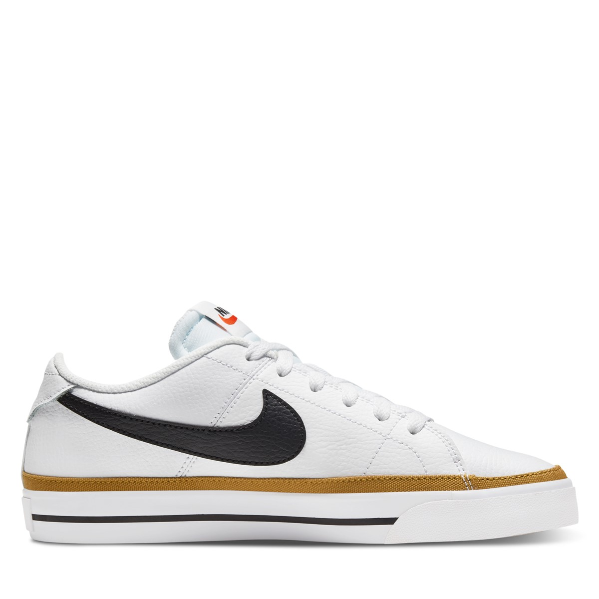 Women's Court Legacy Sneakers in White/Black/Gold