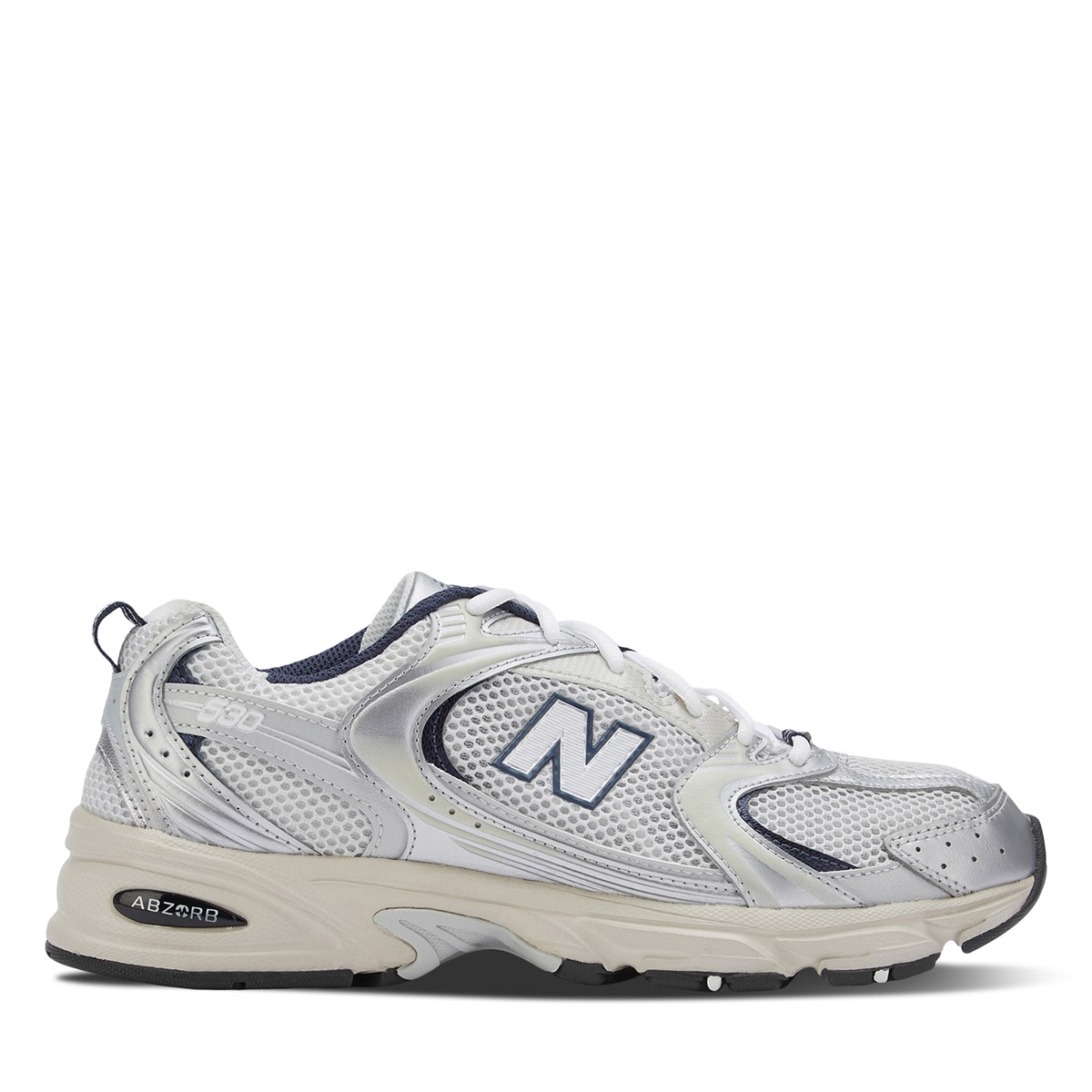 Men's 530 Sneakers in White/ Metallic Grey/ Navy