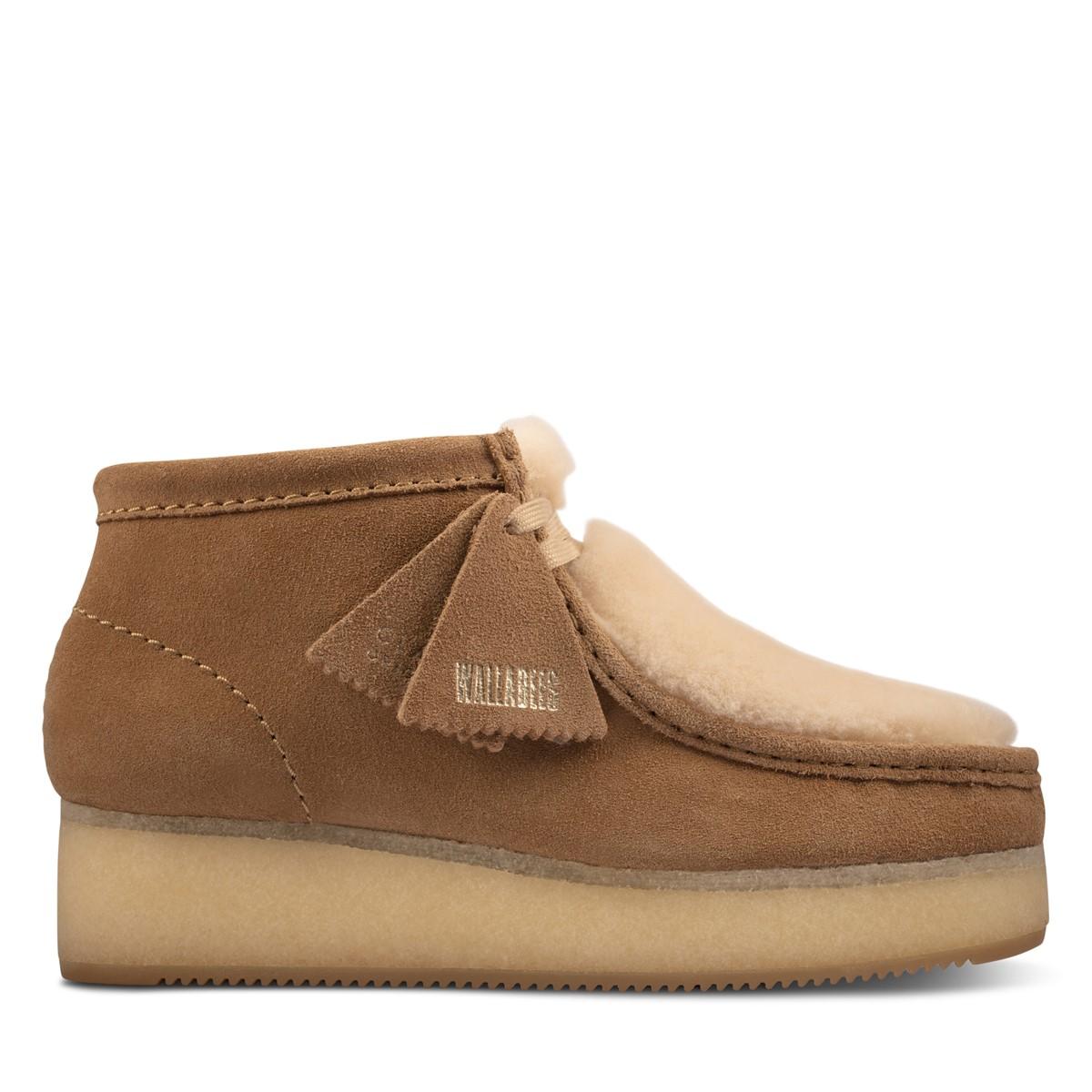 Chaussures Wallabees compensées brun clair pour femmes