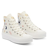 Women's It's Okay To Wander Chuck Taylor All Star Platform Hi Sneakers in White