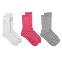 Paquet de 3 chaussettes Crew Watercolor en blanc, gris et rose pour femmes