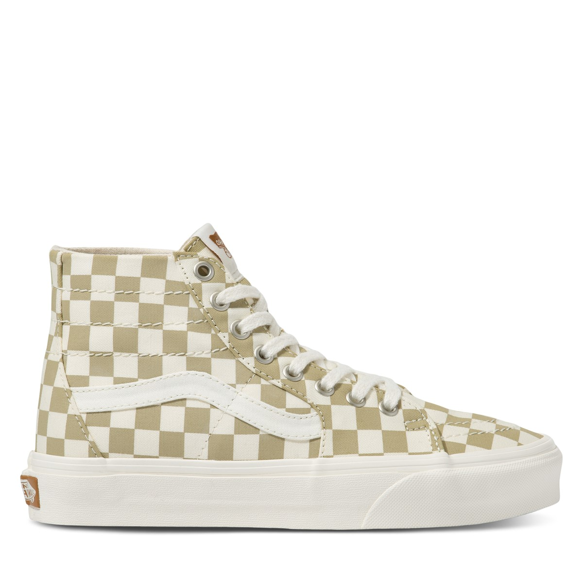 Eco Theory Checkerboard Sk8-Hi Sneakers in White/Beige