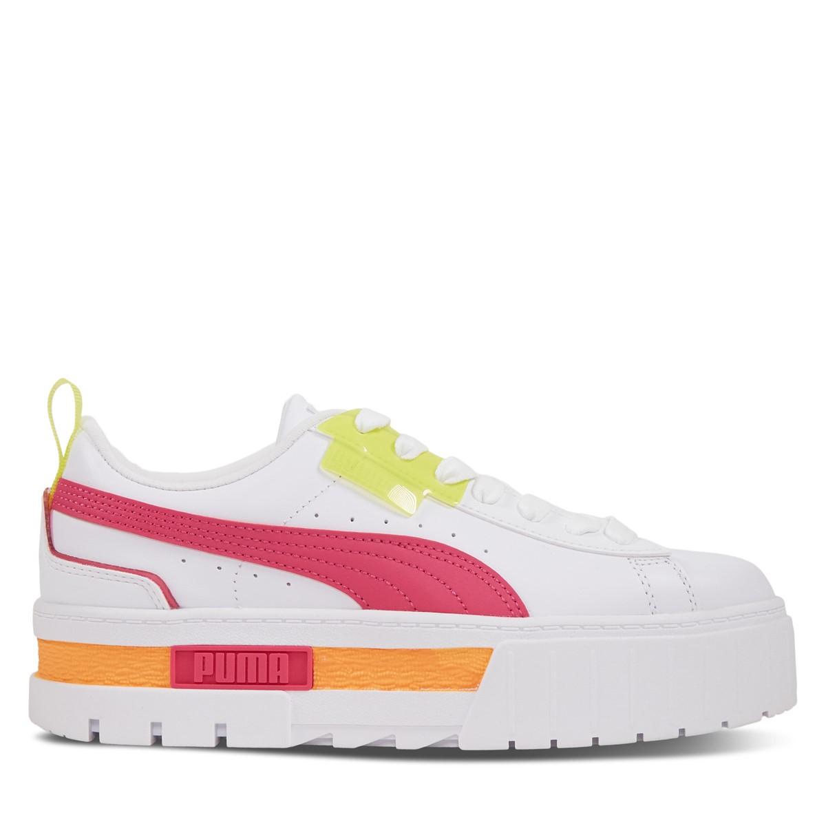 Women's Mayze City Lights Platform Sneakers in White/Multi Neon