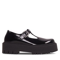 Women's Mary-Jane Platform Shoes in Patent Black
