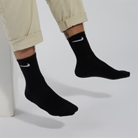 Three Pair Training Crew Socks in Black