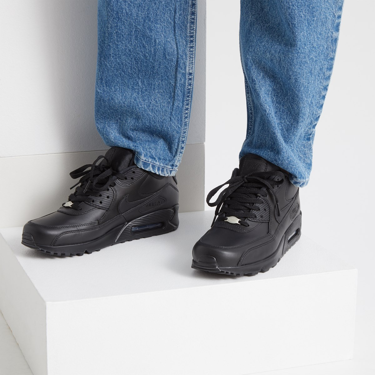 Baskets Air Max 90 en cuir noir pour hommes