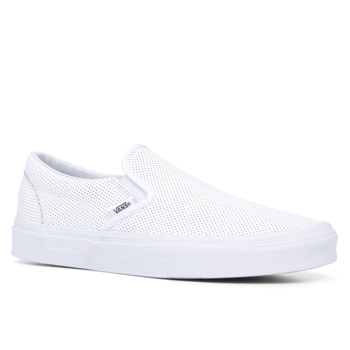 white slip on vans leather