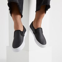 Women's Perforated Leather Slip-Ons in Black