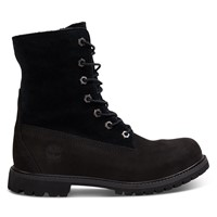 Women's Waterproof Teddy Fleece Fold Down Boots in Black